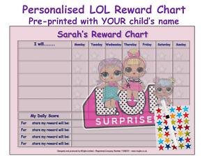 Personalised Good Behaviour Reward Chart Reusable Kids Children SURP