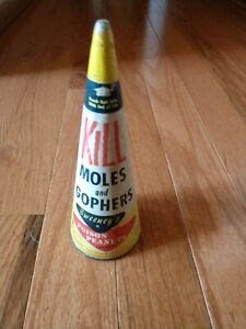 Vintage Package Sweeney's Poison Peanuts Mole & Gopher Bait Yellow Plastic Cone