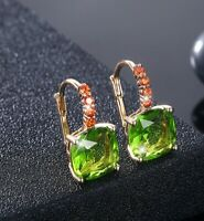 VINTAGE 18K GOLD PLATED EMERALD GREEN CRYSTAL CLIP-ON EARRINGS