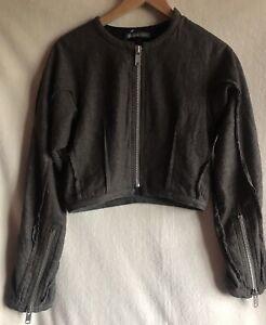ROBERT CARY WILLIAMS Sexy Beige Short jacket size Medium Multi Zipped 70% Wool