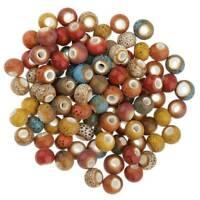 100Pcs 6mm Flower Glaze Ceramic Porcelain Beads For Jewelry Making DIY Findings