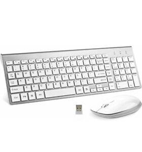 Lucloud Wireless Keyboard & Mouse ,Ultra Slim w/ Mute Whisper-Quiet Mac/PC NIB
