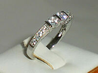 925 Sterling Solid Silver Hallmarked Ladies 3 Stone White Sapphire Eternity Ring