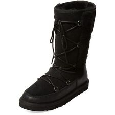 NIB Womens Girls Atwell Black Suede Sheep Fur Lined Shearling Boots Sz 5 / EU 35