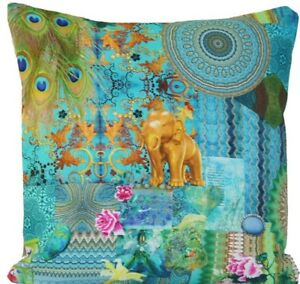 Elephant And Castle Cushion Cover Indian Summer Print Turquoise Gold Cotton 16""