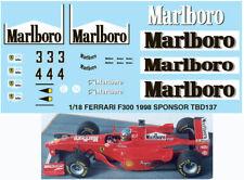 1/18 FERRARI F300 1998 SPONSOR MICHAEL SCHUMACHER DECALS TB DECAL TBD137