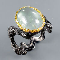 Prehnite Ring Silver 925 Sterling Vintage5ct+ Size 8 /R128334