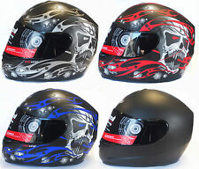VIPER RS-44 SKULL EVO FULL FACE MATT BLACK MOTORCYCLE HELMET + OPTION DARK VISOR