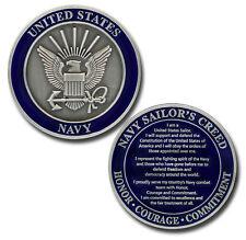 "NAVY MILITARY SAILORS CREED 1.75"" NAVY LOGO CHALLENGE COIN"