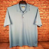 Greg Norman Mens 3XL Play Dry Short Sleeve Blue Striped Polo Shirt
