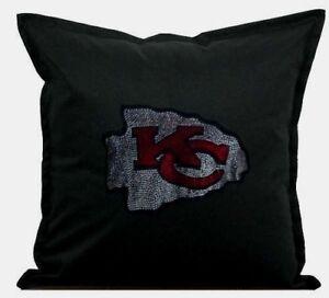 """Kansas City Chiefs Cover Sofa Throw Pillow Case 18""""X18"""" Chair Couch Rhinestone"""