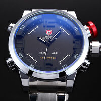 SHARK Brand Mens LED Digital Stainless Steel Wrist Date Day Quartz Sport Watches