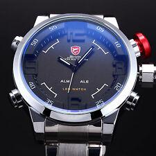 Shark Men's LED Digital Stainless Steel Wrist Date Day Quartz Sport WatchBox