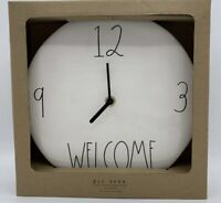 """RAE DUNN Artisan Collection LL """"WELCOME"""" 9"""" Ceramic Wall Clock By Magenta NEW!!"""