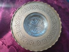 Vintage Glass Ashtray cased in a wooden surround hand carved
