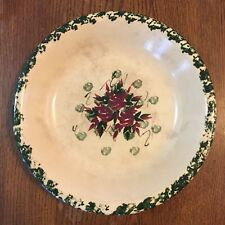 Vintage East Texas Pottery Round Serving Bowl Floral on Cream and Green Sponge
