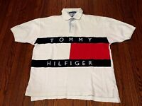 Men's VTG 90's Tommy Hilfiger Big Logo Flag White Polo Shirt sz M