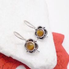 Tigerauge Blüte, gold braun elegant Ohrringe, Ohrhänger, 925 Sterling Silber neu