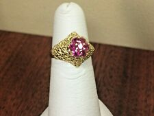 Vintage 14K Yellow Gold Ruby Cluster Ring, Size 6, 3.6 grams, tested 14K