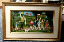 """ERNST GRAUPNER  PAINTING PEOPLE MARCHING 9"""" X 4.5""""  GOLD FRAME 12"""" X 8"""""""