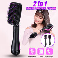 2 in 1 Pro Hot Hair Dryer Blower Styler Salon Smooth Brush Straightening Design