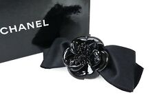 Authentic Vintage CHANEL Black Ribbon Camellia Barrette Hair Clip #29642