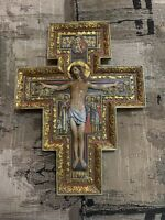 San Damian Crucifix~Hand Painted Color~Gilt~Ornate Christ Cross~Catholic~10""