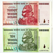 Set of 2 diff. Zimbabwe 10 xf and 20 AU Trillion Dollars P-88 and P-89 2008