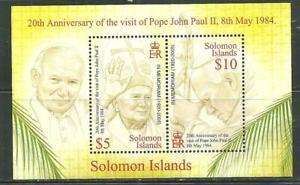 SOLOMON ISLANDS 970 MNH SOUVENIR SHEET 20TH ANNI VISIT POPE JOHN PAUL II SCV8.00