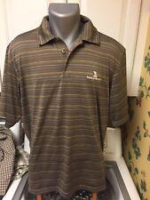 Pebble Beach Performance Men's Polo Golf Shirt L SS Brown Striped Poly Spandex