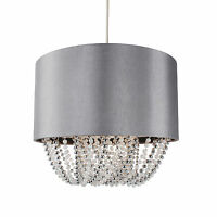 Grey Fabric Easy Fit Ceiling Light Shade w/ Chrome & Pearl Beads Diffuser