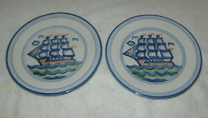 """Vintage  M A Hadley Tall Ship 7.5"""" Salad Plate, American Pottery"""