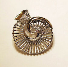 Vintage GERRY'S Nautilus Shell Like Stair Like Swirling Silver Tone Brooch Pin