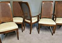 Set of 6 Vintage Country French Provincial Hand Carved Cane Back Dining Chairs