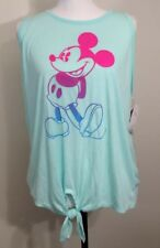Disney Mickey Mouse Tank Top Juniors Size XL MINT Tie Frnt Crochet Back