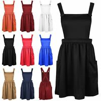 Womens Ladies Dungarees Pinafore Cross Back Strappy Skater Flared Dress Playsuit