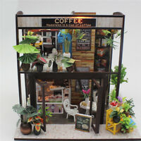 DIY Wooden Toy Miniature Doll House Kit Coffee Shop LED Light Dollhouse Gifts UK
