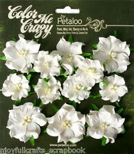 Mini Wild Rose WHITE (Green Leaves) 12 Paper Flowers 3&4cm across CMC Petaloo