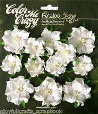 Mini Wild Rose White (green Leaves) 12 Paper Flowers 3&4cm Across CMC Petaloo