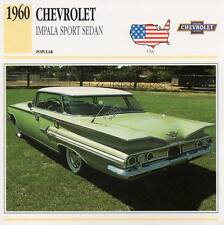 1960 CHEVROLET IMPALA SPORT SEDAN Classic Car Photograph / Information Maxi Card