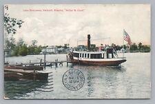 Lake Bomoseen VT Arthur B Cook Steamer—Rare Antique Hand-Colored Steam Ship