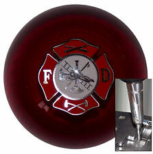 Clear Red Fire Department shift knob for Dodge Chrys Jeep auto stick w/ adapter