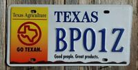 "TEXAS ""TEXAS AGRICULTURE"" LICENSE PLATE  (AUTHENTIC STATE ISSUED PLATE)"