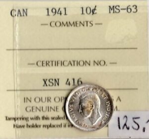 Canada 1941 10 Cents ICCS Certified MS-63  XSN 416