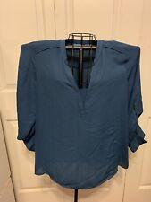 Women's Clothing SIMPLY VERA VERA WANG Slate Blue Blouse Shirt Top Size XL