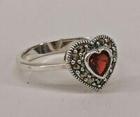 9927864 925er Silber Granat-Markasit-Ring Herz Gr.53  Vintage
