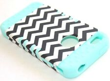 iPHONE 4 4G 4S - HARD&SOFT RUBBER HYBRID ARMOR CASE MINT BLUE BLACK CHEVRON WAVE