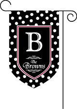 Black and White Polka Dot Monogram Garden Flag