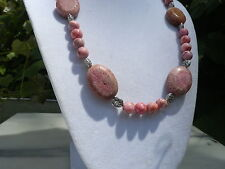 "20"" Handmade Pink Crazy Lace Agate Necklace with Large Pink Coral Focal Beads"