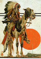 "1923 Leyendecker, Indian Sunset, Horse, Native American, 16""x11"" WALL ART"